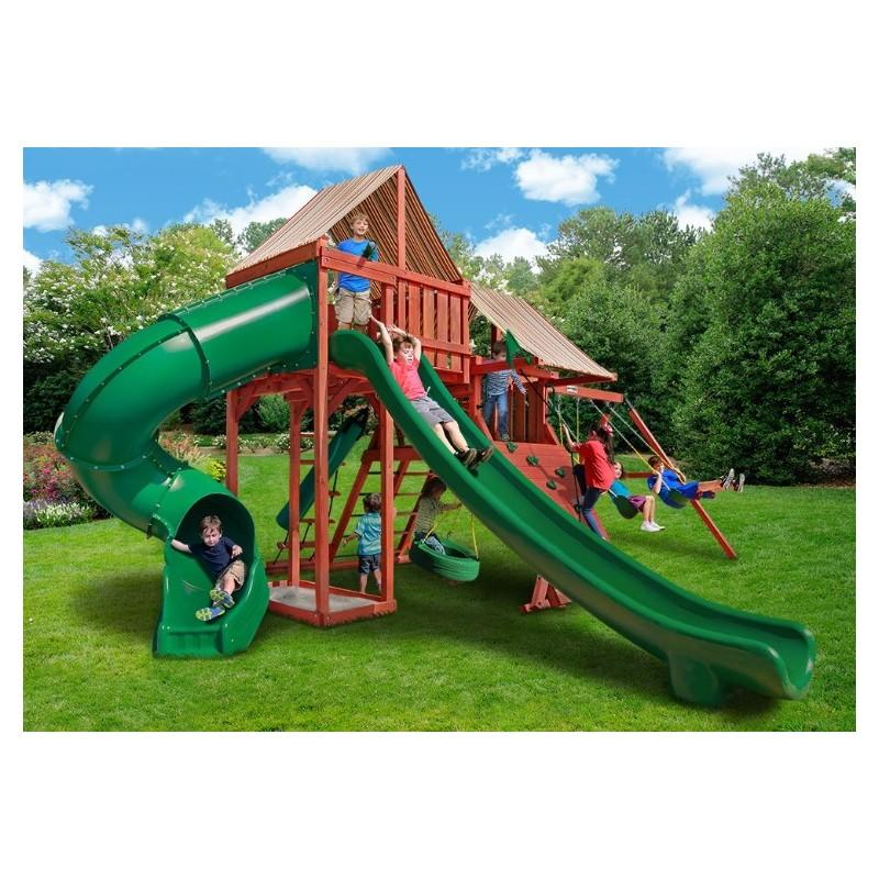 Gorilla Sun Climber Deluxe Cedar Wood Swing Set Kit w/ Sunbrella® Canvas Forest Green - Redwood - (01-0042-2)