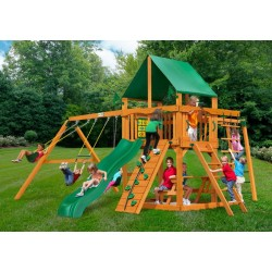 Gorilla Navigator Cedar Wood Swing Set Kit w/ Amber Posts and Deluxe Green Vinyl Canopy - Amber (01-0020-AP-1)