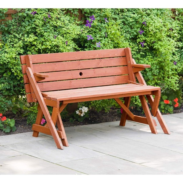 Sensational Leisure Season Convertible Wood Picnic Table Garden Bench Kit Fptb7104 Pabps2019 Chair Design Images Pabps2019Com