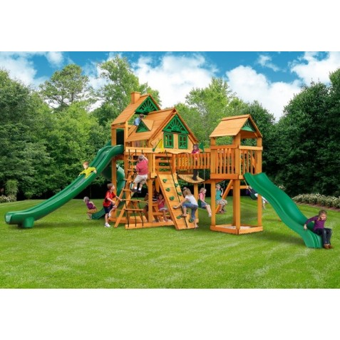 Gorilla Treasure Trove II Cedar Wood Swing Set Kit w/ Amber Posts and Deluxe Green Vinyl Canopy - Amber (01-1034-AP-1)