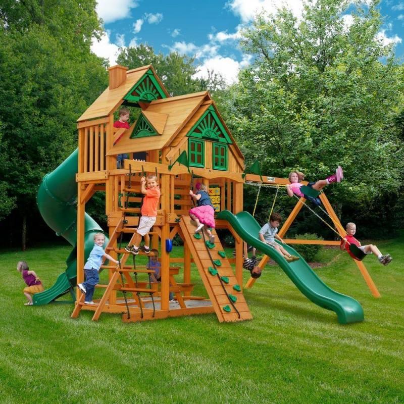 Gorilla Treasure Trove Treehouse Cedar Swing Set Kit w/ Amber Posts - Amber (01-1037-AP)