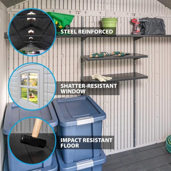 Lifetime 8x15 Plastic Storage Shed Kit W 2 Windows 60075