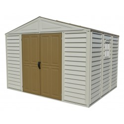 DuraMax 10.5'W x 8'D Woodbridge Adobe Vinyl Shed w/ Foundation (20224)
