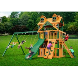 Gorilla Malibu Clubhouse  w/ Timber Shield Swing Set kit - Amber (01-0072-TS)