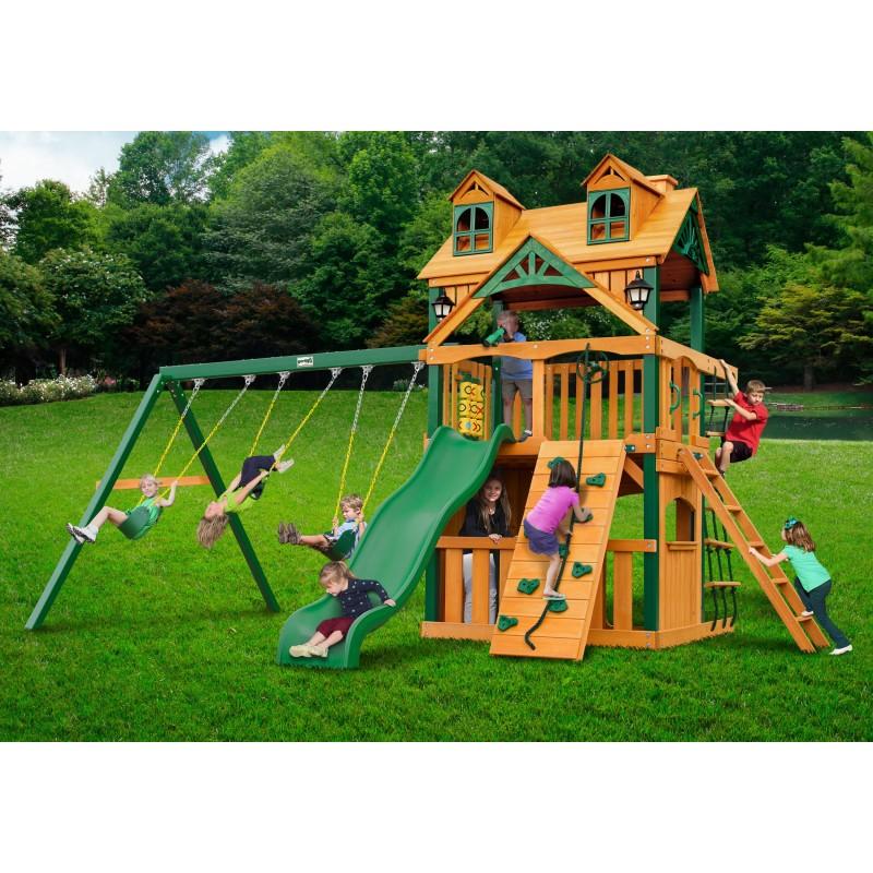 Gorilla Malibu Clubhouse  w/ Timber Shield Swing Set kit - Amber (01-0072-TS)