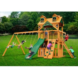 Gorilla Malibu Clubhouse Cedar Wood Swing Set Kit w/ Amber Posts - Amber (01-0072-AP)