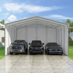 Versatube 3-Sided 24x20x12 Classic Steel Carport Kit (C3E324200120)