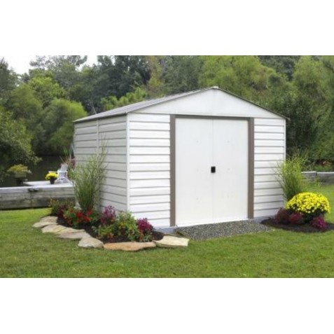 Arrow 10x12 Vinyl Milford Shed W Foundation Shelving Vm1012b