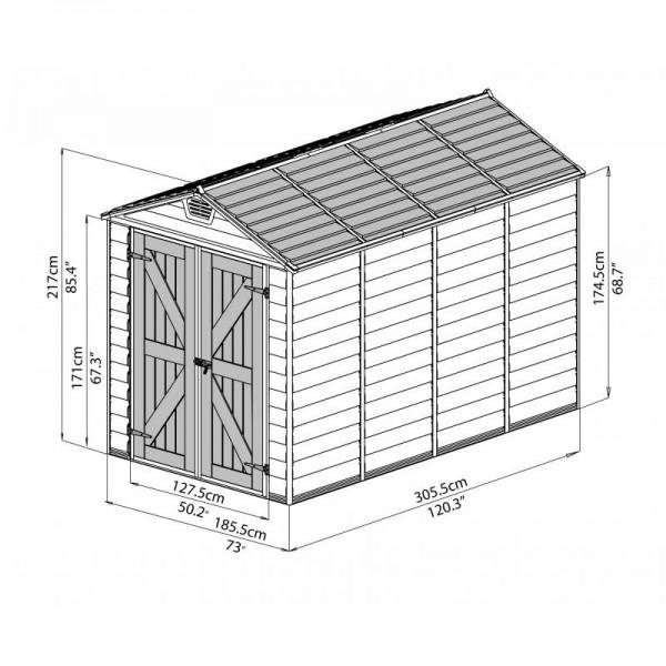 Palram 6x10 Skylight Storage Shed Kit Tan Hg9610t