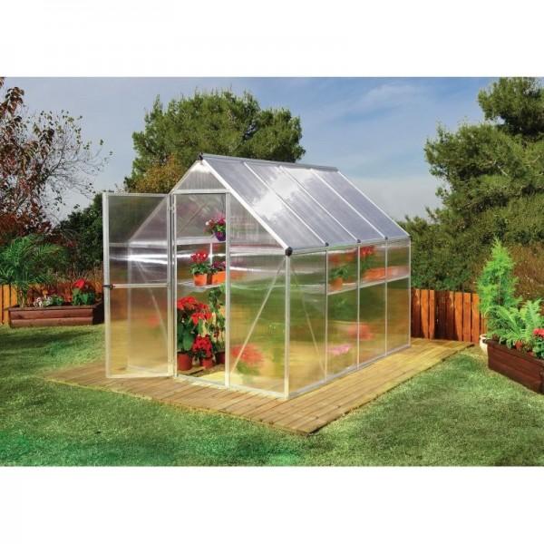 Palram 6x8 Mythos Hobby Greenhouse Kit Silver Hg5008