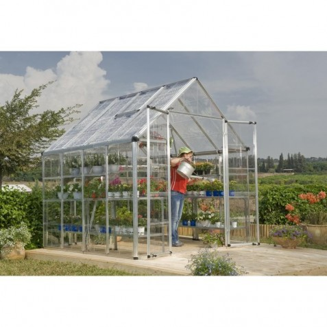 palram 8x8 snap u0026 grow hobby greenhouse kit silver hg8008