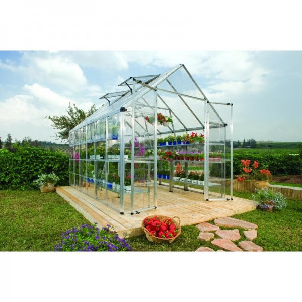 palram 8x12 snap u0026 grow hobby greenhouse kit silver hg8012 - Palram Greenhouse