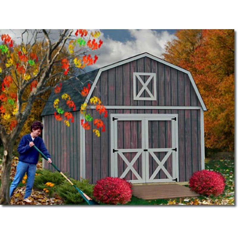 Denver 12x16 Wood Storage Shed Building Kit - ALL Pre-Cut (denver_1216)