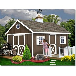 Easton 12x16 Wood Storage Shed Kit - ALL Pre-Cut (easton_1216)