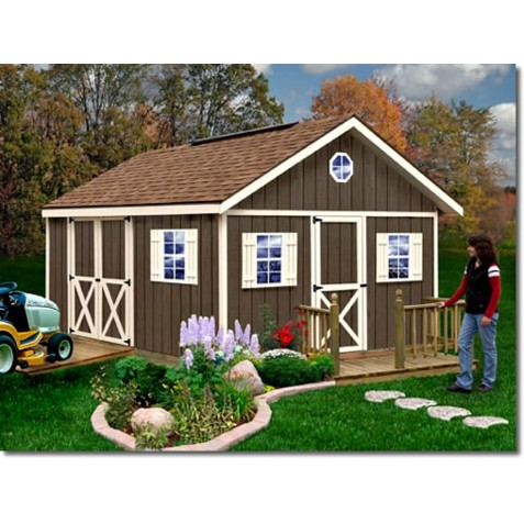 Fairview 12x16 Wood Storage Shed Kit - ALL Pre-Cut (fairview_1216)