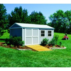 Handy Home Somerset 10x14 Wood Storage Shed Kit with Flexible Door Locations - Floor Kit Included (18415-4)