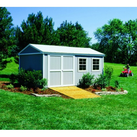 Handy Home Somerset 10x16 Wood Storage Shed Kit with Flexible Door Locations - Floor Kit Included (18506-9)