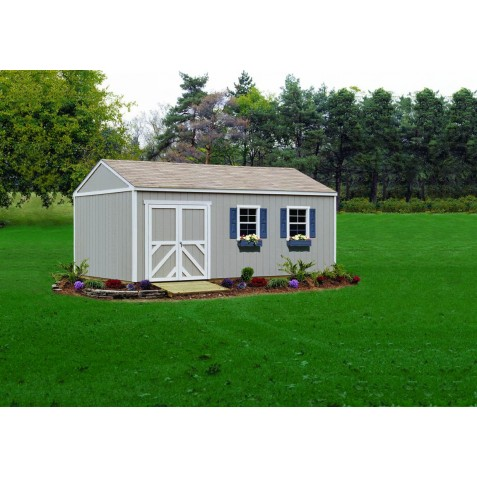 Handy Home Columbia 12x20 Wood Storage Shed w/ Flexible Door locations - Floor Included (18221-1)