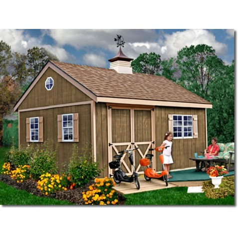 New Castle 12x16 Wood Storage Shed Kit - ALL Pre-Cut - newcastle_1216