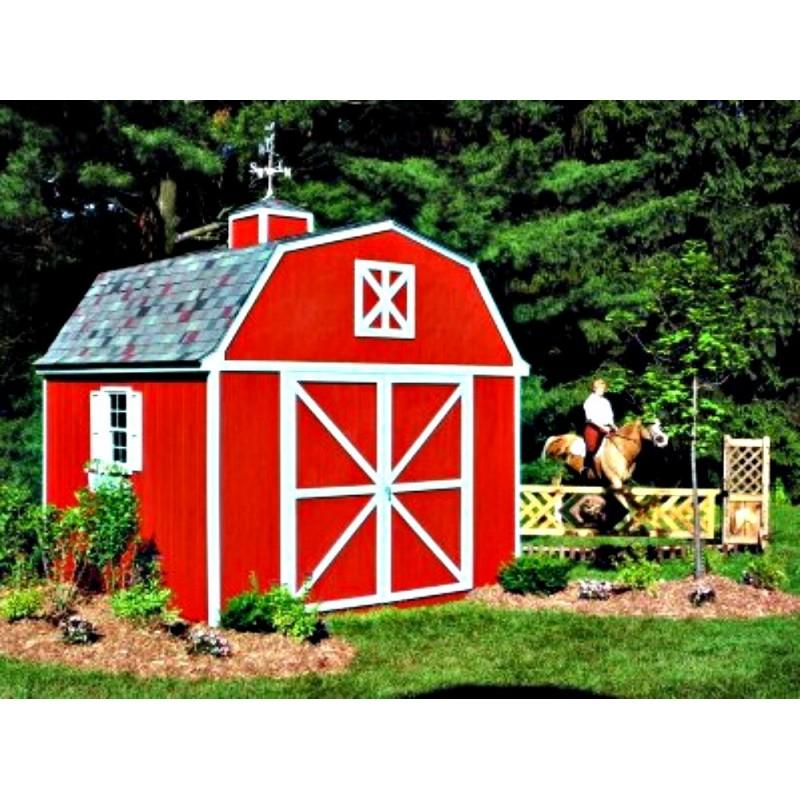 Handy Home Berkley 10x10 Wood Storage Shed w/ Floor - Barn Style (18420-8)
