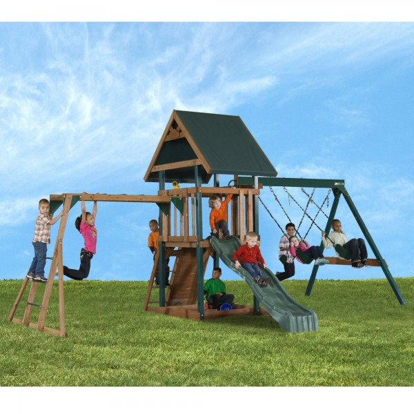 Handy Home Mongoose Manor Wood Swing Set Kit With Monkey