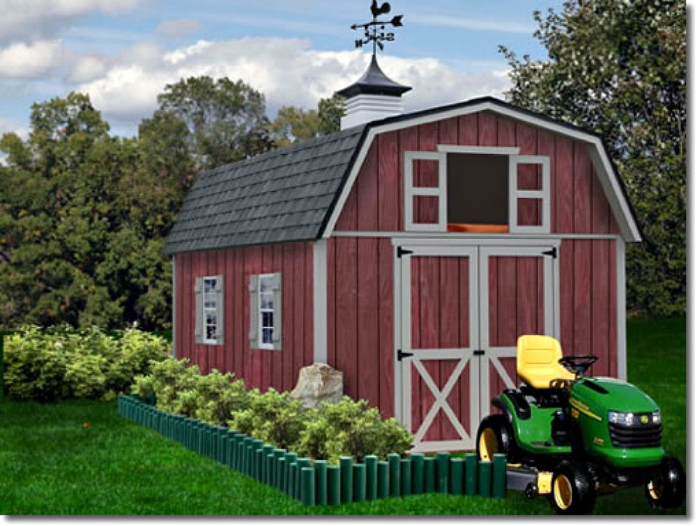 Best Barns Woodville 10x16 Wood Storage Shed Kit   ALL Pre Cut  (woodville_1016)