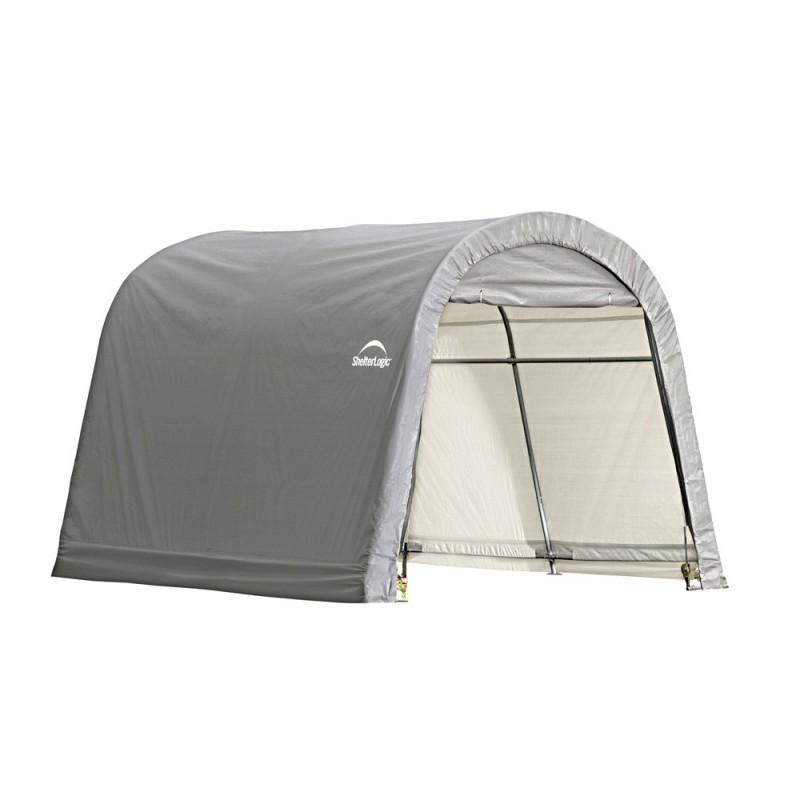 Shelter Logic 10x10x8 ft Round Style Storage Shed Kit - Grey (70435)