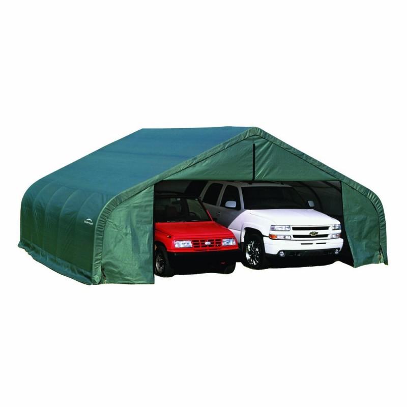Shelter Logic 22x28x11 Peak Style Double Wide Garage Kit - Green (78741)