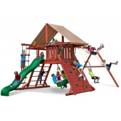 Gorilla Sun Climber I Cedar Wood Swing Set Kit w/ Sunbrella® Brannon - Redwood (01-0026)