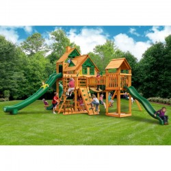 Gorilla Treasure Trove II Treehouse Cedar Wood Swing Set Kit w/ Amber Posts - Amber (01-1038-AP)