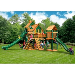 Gorilla Treasure Trove II Treehouse Cedar Wood Swing Set Kit w/ Timber Shield™ - Amber (01-1038-TS)