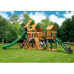 Gorilla Treasure Trove II Cedar Wood Swing Set Kit  w/ Timber Shield™ and Standard Wood Roof - Amber (01-1034-TS)