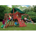 Gorilla Sun Climber II Cedar Wood Swing Set Kit w/ Sunbrella® Canvas Forest Green Canopy - Redwood (01-0025)