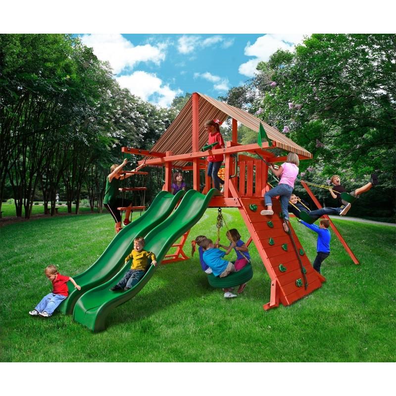 Gorilla Sun Climber Extreme Cedar Wood Swing Set Kit w/ Sunbrella® Brannon Redwood Canopy - Redwood (01-0041-3)