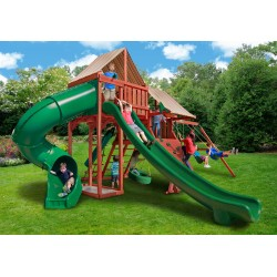 Gorilla Sun Climber Deluxe Cedar Wood Set Kit w/ Sunbrella® Brannon Redwood- Redwood- (01-0042-3)