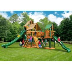 Gorilla Treasure Trove II Cedar Wood Swing Set Kit  w/ Timber Shield™ and Sunbrella® Weston Ginger Canopy - Amber (01-1034-TS-3)
