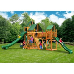 Gorilla Treasure Trove II Cedar Wood Swing Set Kit w/ Amber Posts & Sunbrella® Forest Green Canopy - Amber (01-1034-AP-2)