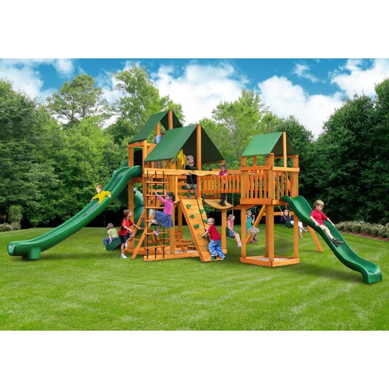 Gorilla Treasure Trove II Cedar Wood Swing Set Kit w/ Amber Posts & Sunbrella® Forest Green Canopy - Amber (01-1034-AP-2)