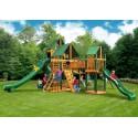 Gorilla Treasure Trove II Cedar Wood Swing Set Kit w/ Timber Shield™ & Sunbrella Forest® Green Canopy  - Amber 01-1034-TS-2