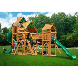 Gorilla Treasure Trove Cedar Wood Swing Set Kit w/ Amber Posts and Standard Wood Roof - Amber (01-1021-AP)