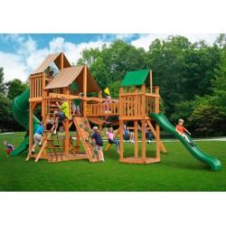 Gorilla Treasure Trove Cedar Wood Swing Set Kit w/ Amber Posts and Sunbrella®  Weston Ginger Canopy - Amber (01-1021-AP-3)