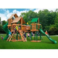 Gorilla Treasure Trove Cedar Wood Swing Set Kit w/ Timber Shield™ & Sunbrella®  Weston Ginger Canopy - Amber (01-1021-TS-3)