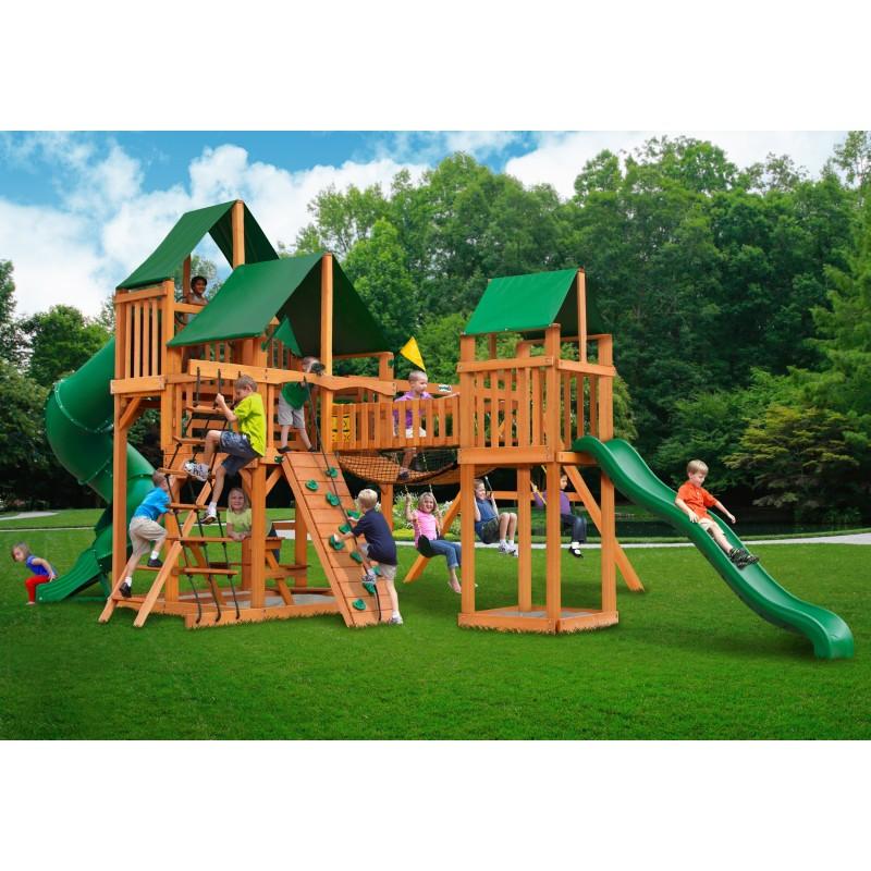 Gorilla Treasure Trove Cedar Wood Swing Set Kit w/ Amber Posts & Sunbrella® Canvas Forest Green Canopy - Amber (01-1021-AP-2)