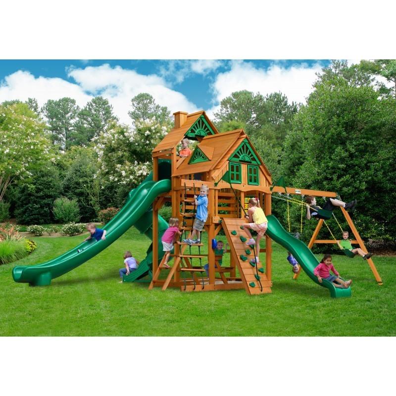 Gorilla Great Skye II Treehouse Cedar Wood Swing Set Kit w/ Amber Posts - Amber (01-0059-AP)