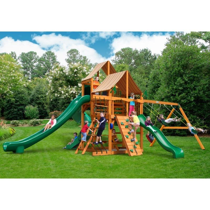 Gorilla Great Skye II Cedar Wood Swing Set Kit w/ Amber Posts & Sunbrella® Canvas Forest Green Canopy - Amber (01-0031-AP-2)