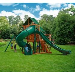 Gorilla Great  Canvas Skye II Cedar Wood Swing Set Kit  w/ Timber Shield™ & Sunbrella® Forest Green Canopy  - Amber 01-0031-TS-2