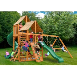 Gorilla Great Skye I Cedar Wood Swing Set Kit w/ Amber Posts and Sunbrella® Weston Ginger Canopy - Amber (01-0030-AP-3)