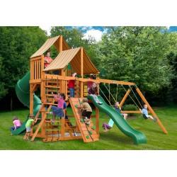 Gorilla Great Skye I Cedar Wood Swing Set Kit w/ Amber Posts and Sunbrella® Weston Ginger Canopy - Amber (01-0030-AP-3)