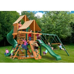Gorilla Great Skye I Cedar Wood Swing Set Kit w/ Timber Shield™ and Sunbrella® Weston Ginger Canopy - Amber (01-0030-TS-3)