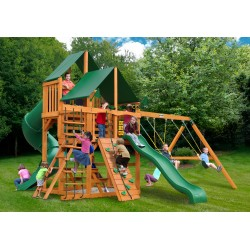 Gorilla Great Skye I Cedar Wood Swing Set Kit w/ Amber Posts & Sunbrella® Canvas Forest Green Canopy - Amber (01-0030-AP-2)